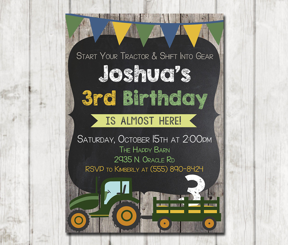 Printable Tractor Birthday Invitation