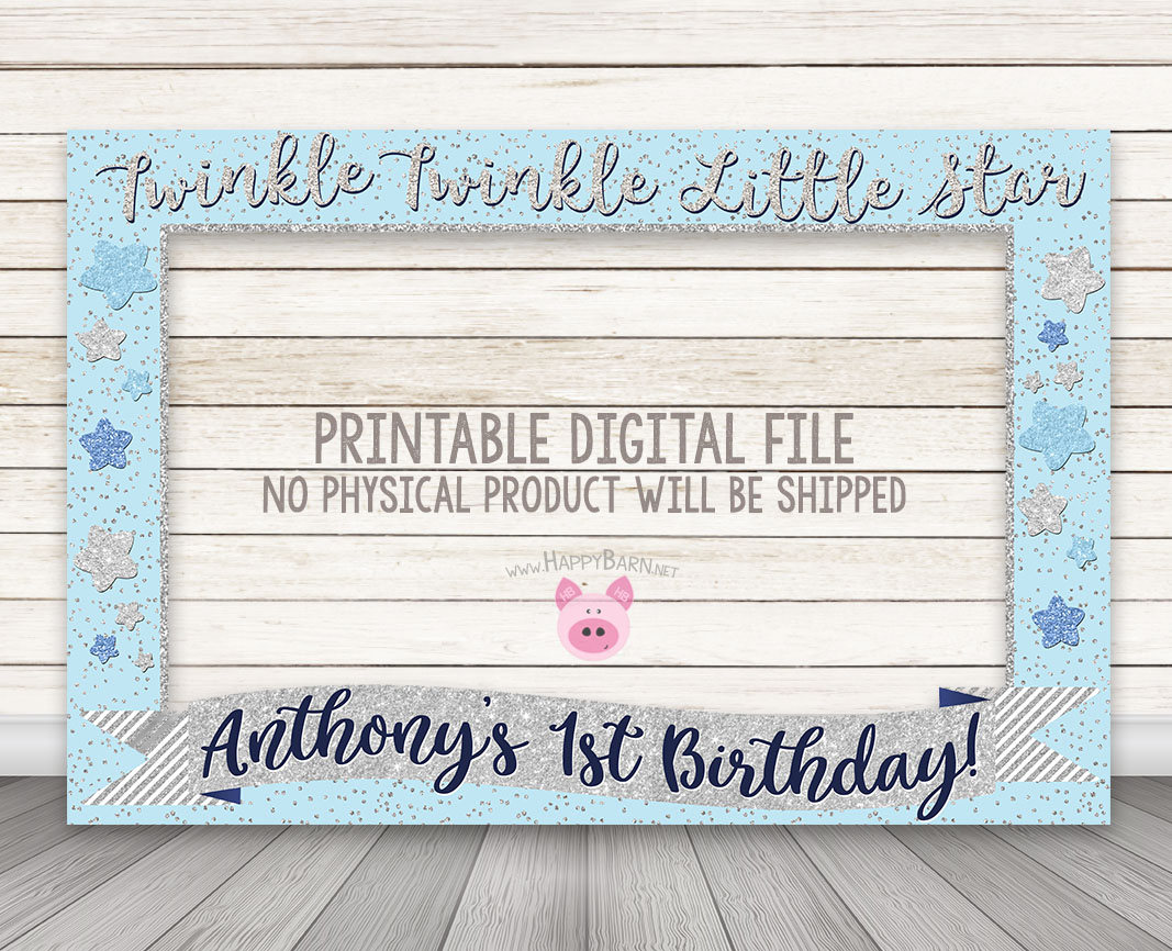 Printable Twinkle Twinkle Little Star Photo Booth Frame Pink Gold
