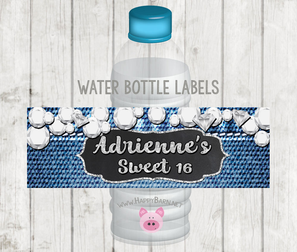 photograph regarding Printable Water Bottle Labels named Printable Denim and Diamonds Drinking water Bottle Labels