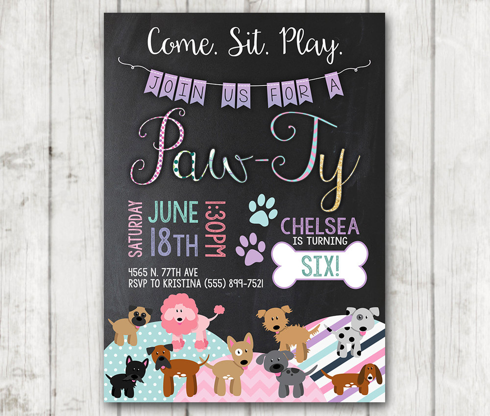 Puppy Birthday Invitations Printable Dog Custom Personalized Bday Invite Chalk Girl Party Doggie