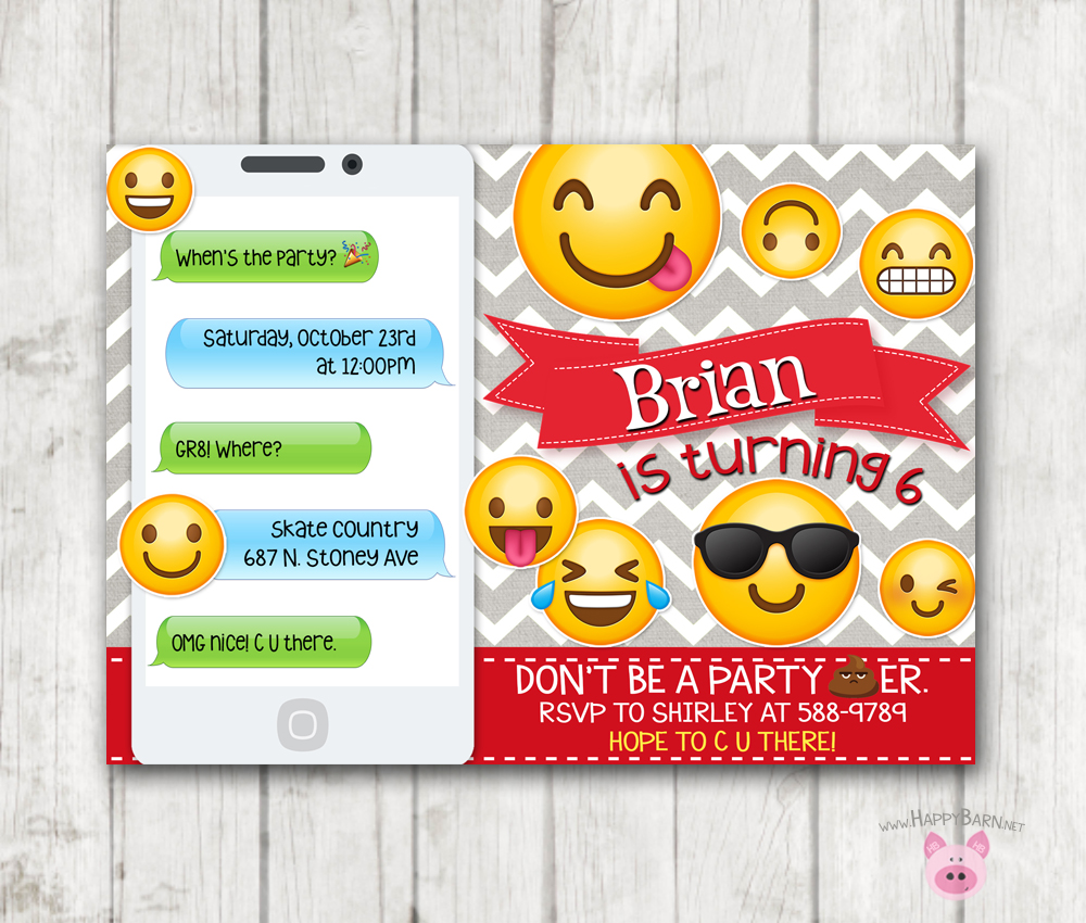 It's just a photo of Emoji Invitations Printable with diy
