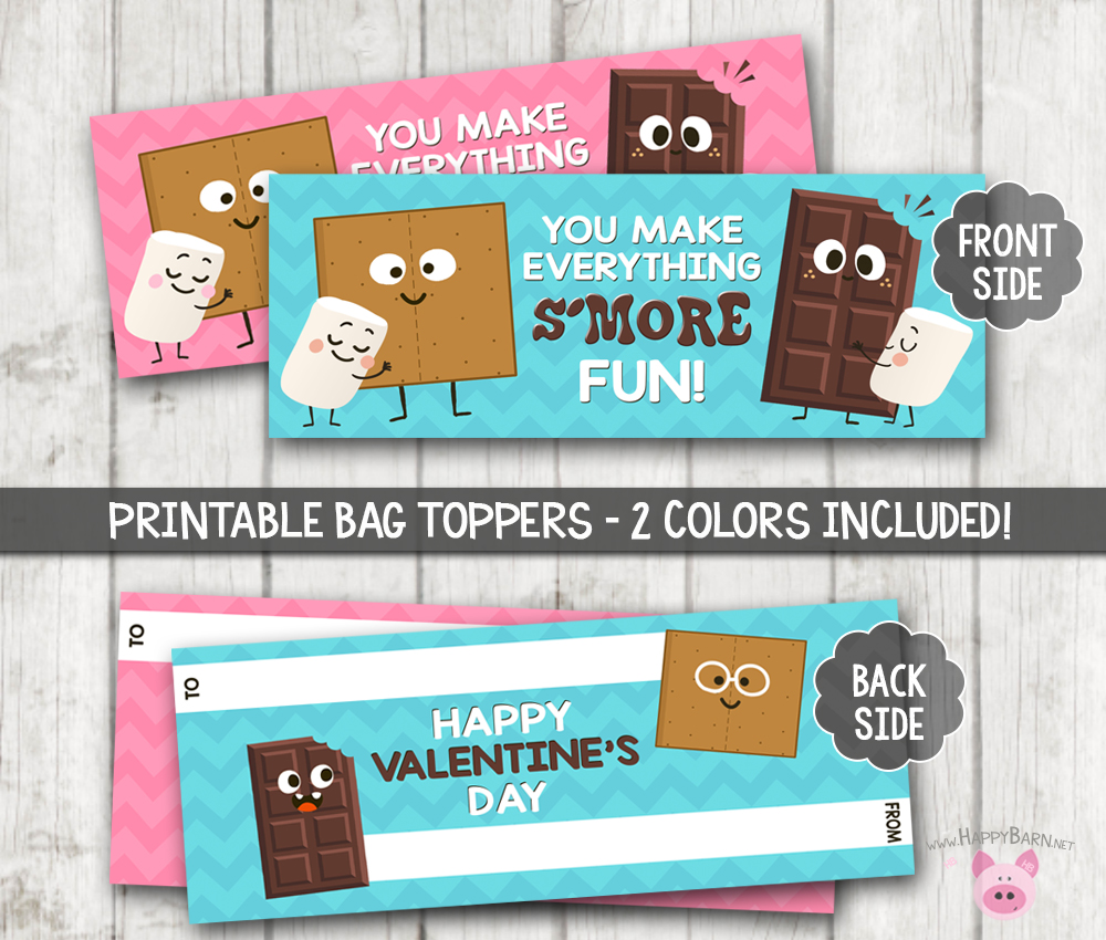 photograph about Printable Bag Toppers identify Printable Smores Take care of Bag Toppers, Smores Valentine Bag Toppers