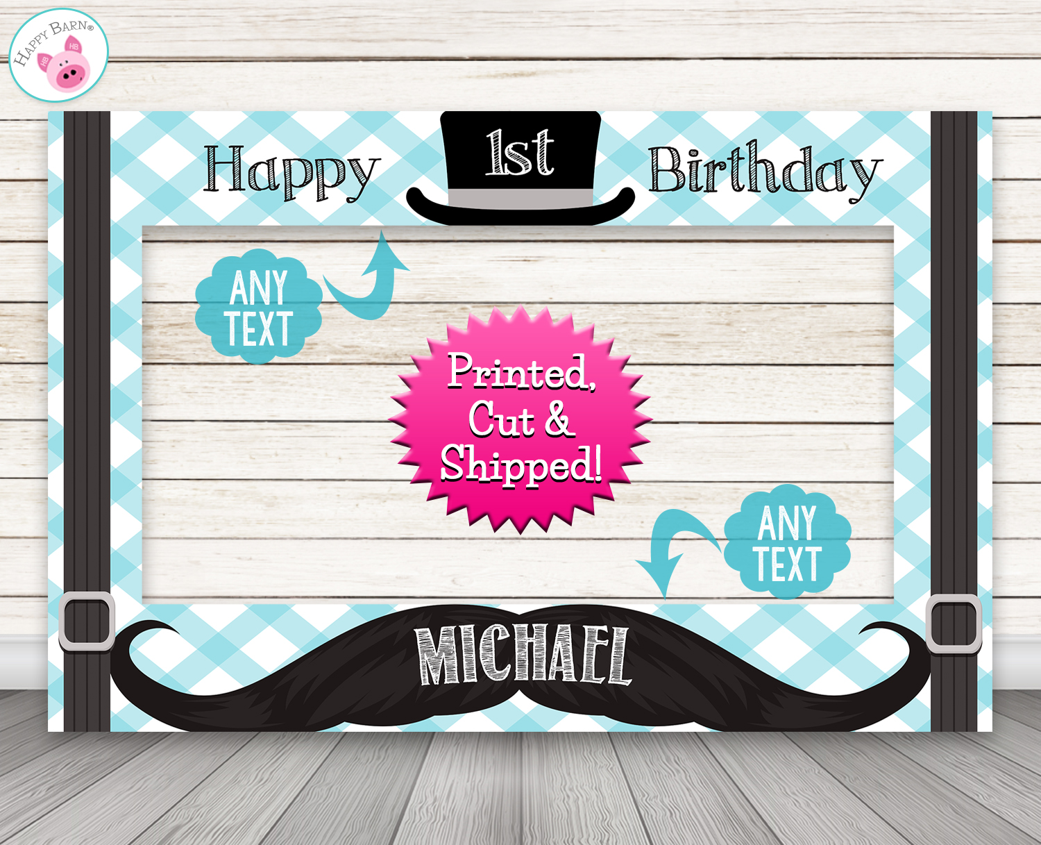 Little Man Photo Booth Frame Mustache Prop Happy Barn