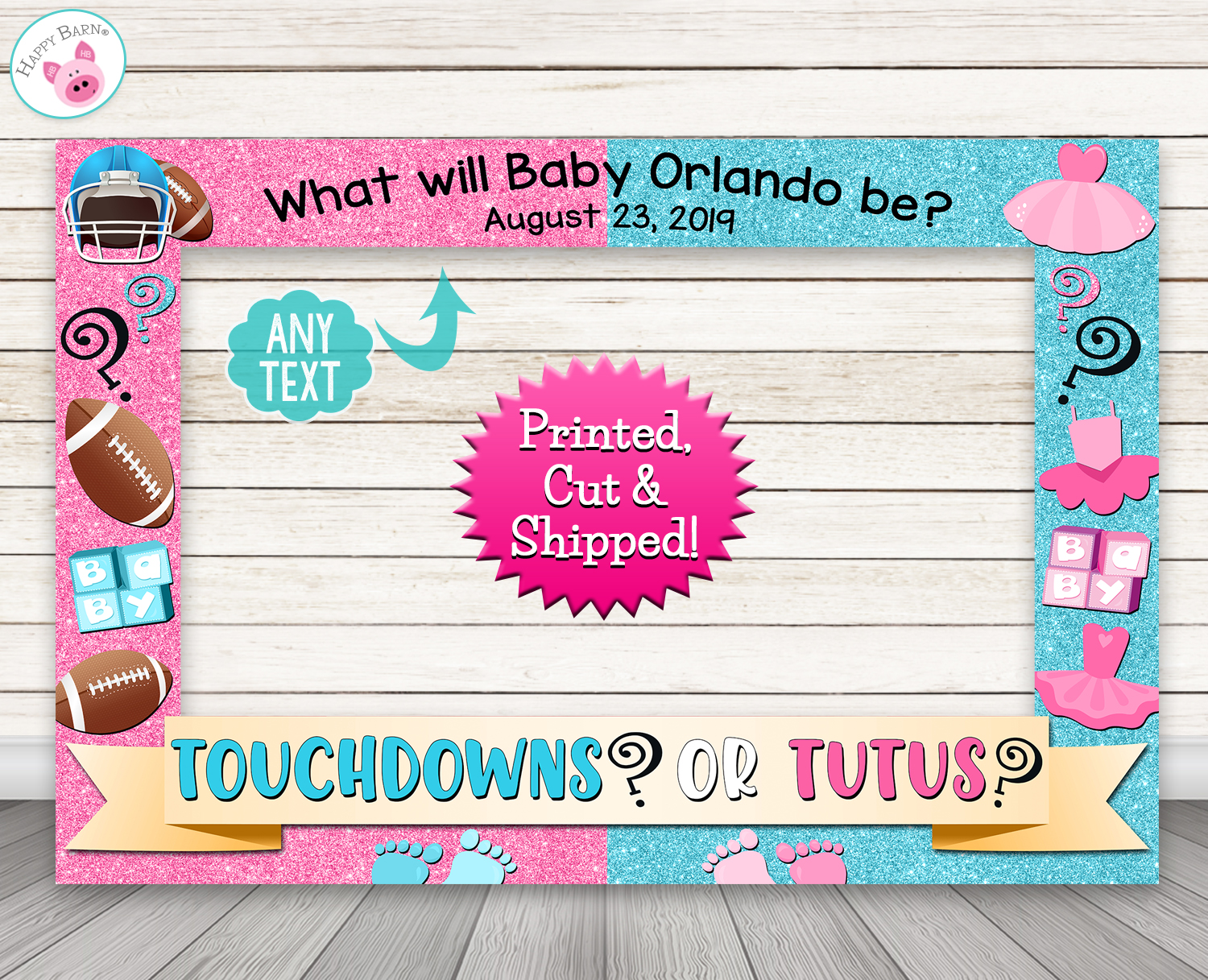 Touchdowns Or Tutus Gender Reveal Baby Shower Photo Booth Frame